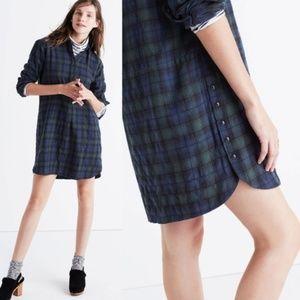 Madewell flannel side-button shirtdress Plaid Sz M